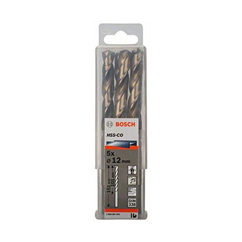 Hộp 5 mũi khoan Inox HSS-Co 12mm BOSCH 2608585903