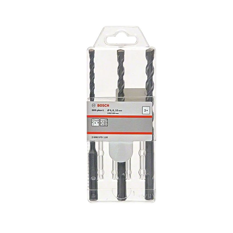 Bộ 3 mũi khoan 1 6/8/10x160mm SDS Plus BOSCH 2608579118