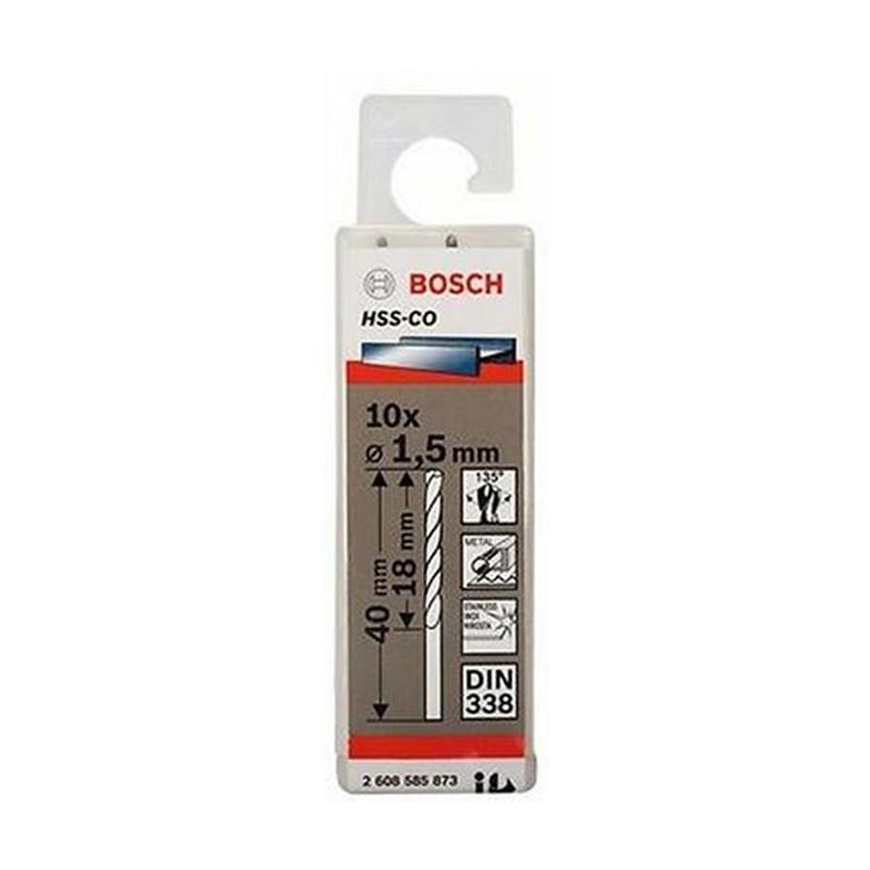 Hộp 10 mũi khoan Inox HSS-Co 1.5mm BOSCH 2608585873