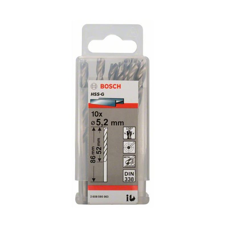 Hộp 10 mũi khoan sắt HSS-G 5.2mm BOSCH 2608595063