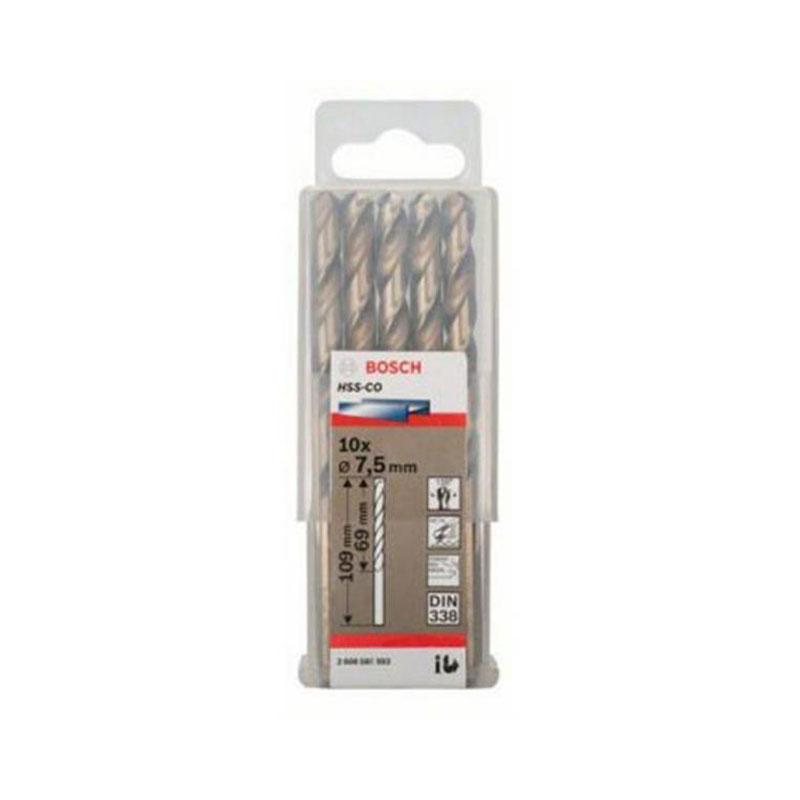 Hộp 10 mũi khoan Inox HSS-Co 7.5mm BOSCH 2608585893
