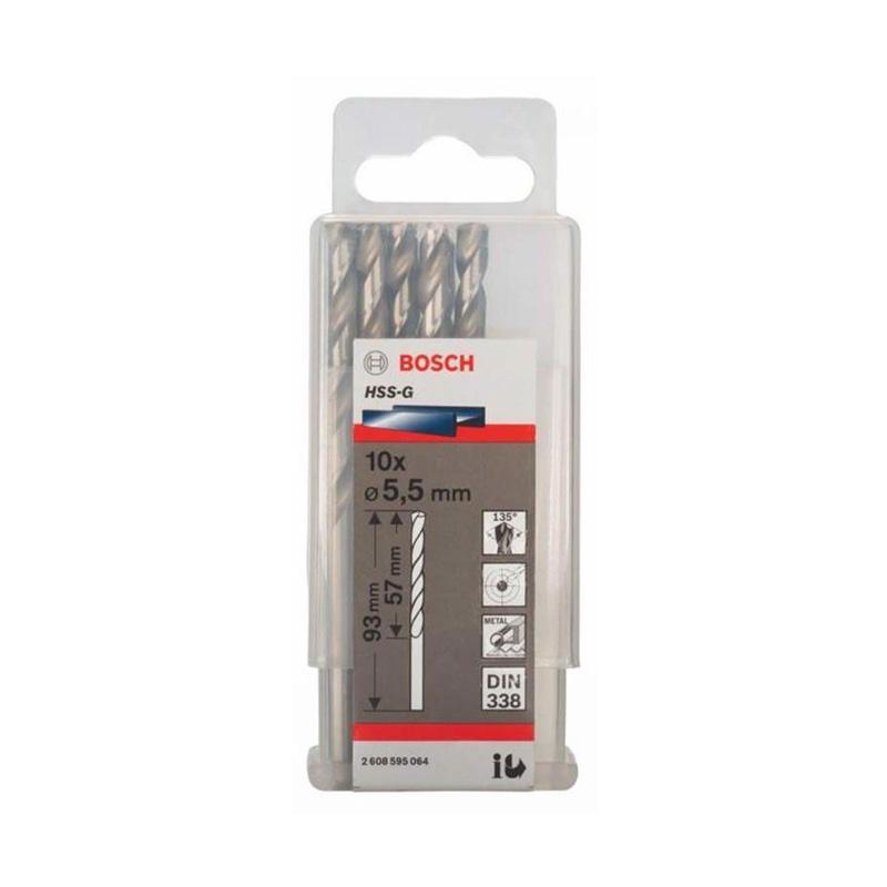 Hộp 10 mũi khoan sắt HSS-G 5.5mm BOSCH 2608595064