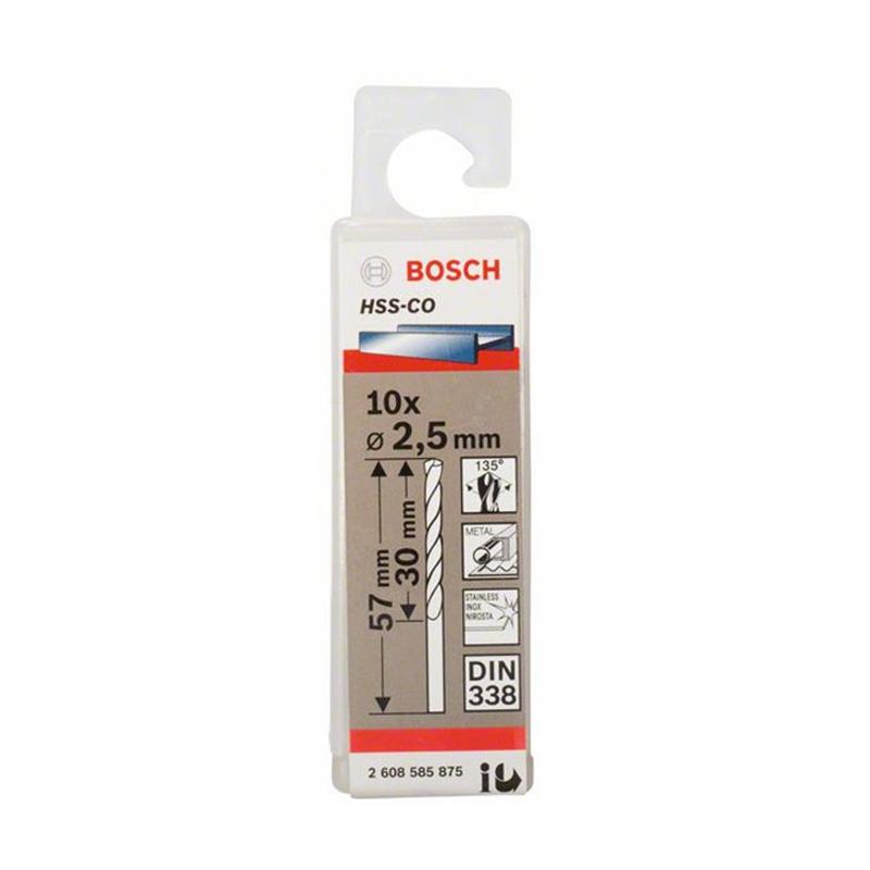 Hộp 10 mũi khoan Inox HSS-Co 2.5mm BOSCH 2608585875