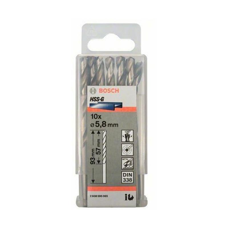 Hộp 10 mũi khoan sắt HSS-G 5.8mm BOSCH 2608595065