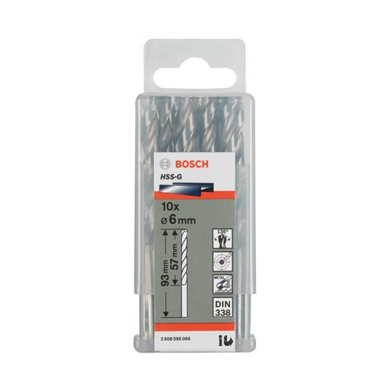 Hộp 10 mũi khoan sắt HSS-G 6mm BOSCH 2608595066