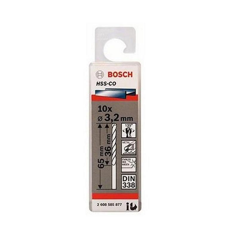 Hộp 10 mũi khoan Inox khoan INOX HSS-Co 3.2mm BOSCH 2608585877