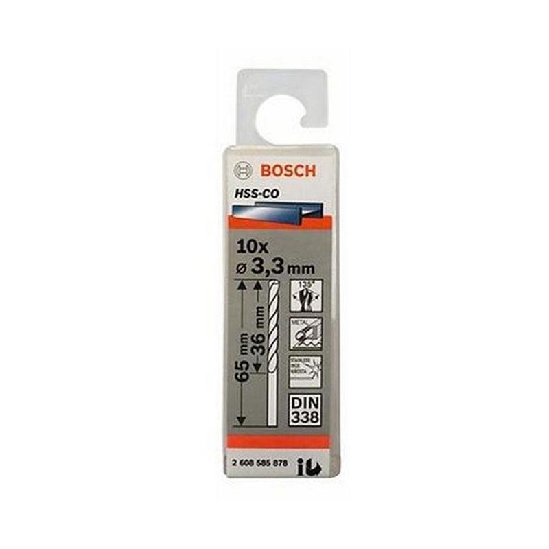 Hộp 10 mũi khoan Inox HSS-Co 3.3mm BOSCH 2608585878