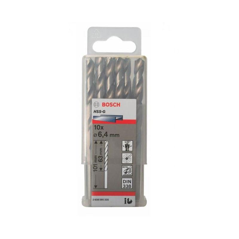 Hộp 10 mũi khoan sắt HSS-G 6.4mm BOSCH 2608595335