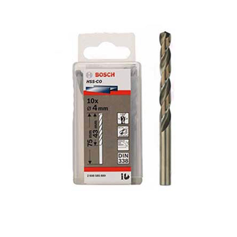 Hộp 10 mũi khoan Inox HSS-Co 4mm BOSCH 2608585880
