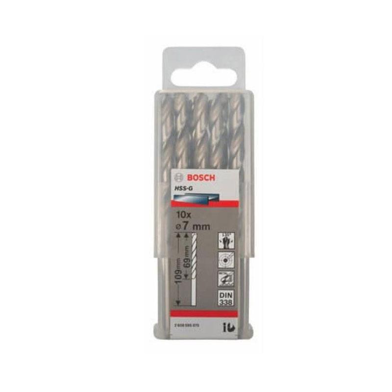 Hộp 10 mũi khoan sắt HSS-G 7mm BOSCH 2608595070