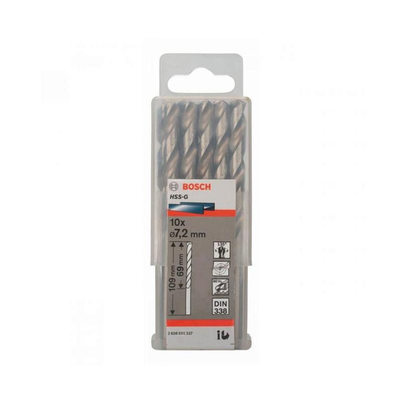 Hộp 10 mũi khoan sắt HSS-G 7.2mm BOSCH 2608595337
