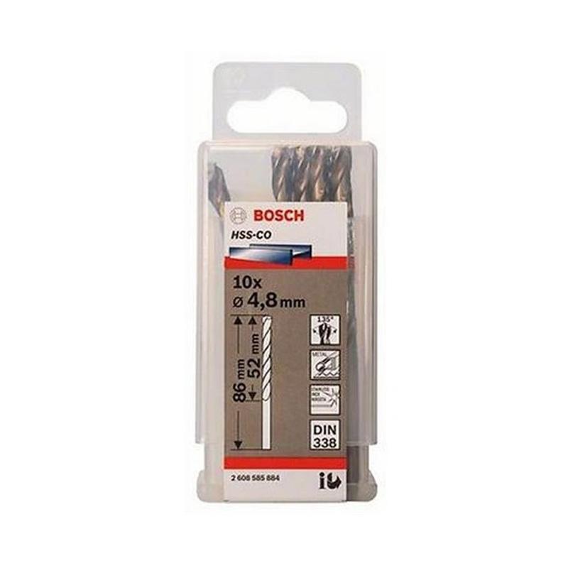 Hộp 10 mũi khoan Inox HSS-Co 4.8mm BOSCH 2608585884