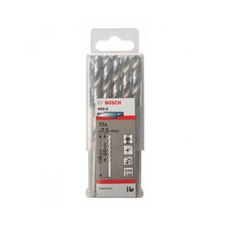 Hộp 10 mũi khoan sắt HSS-G 7.5mm BOSCH 2608595071