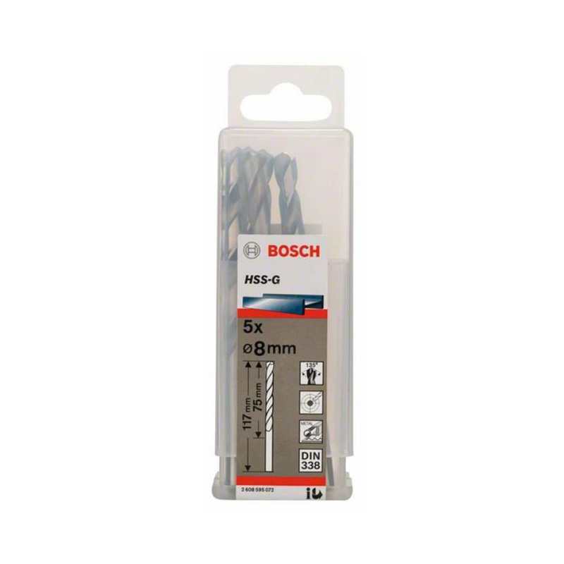 Hộp 5 mũi khoan sắt HSS-G 8.0mm BOSCH 2608595072