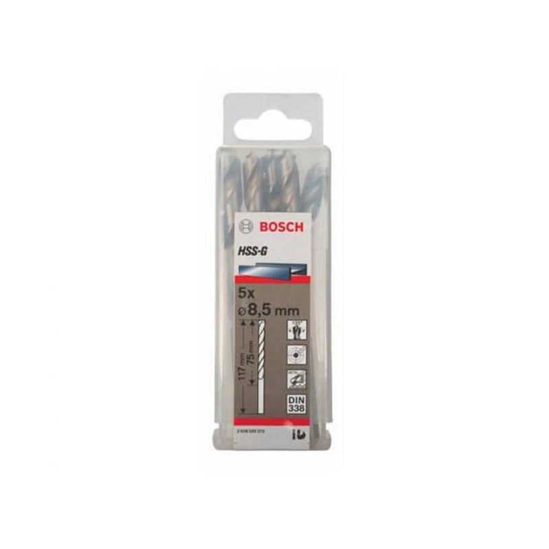 Hộp 5 mũi khoan sắt HSS-G 8.5mm BOSCH 2608595073