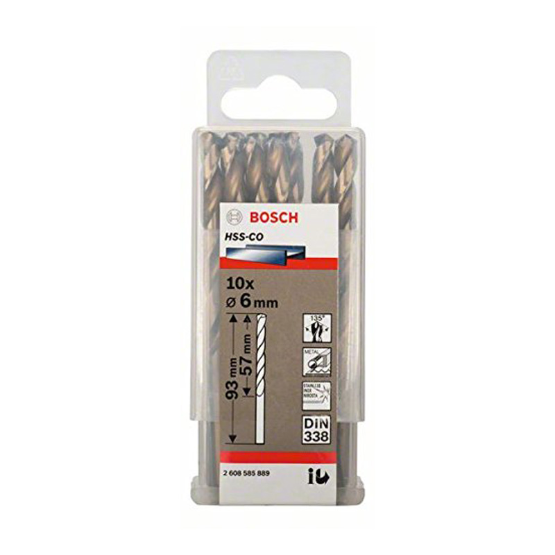 Hộp 10 mũi khoan Inox HSS-Co 6mm BOSCH 2608585889