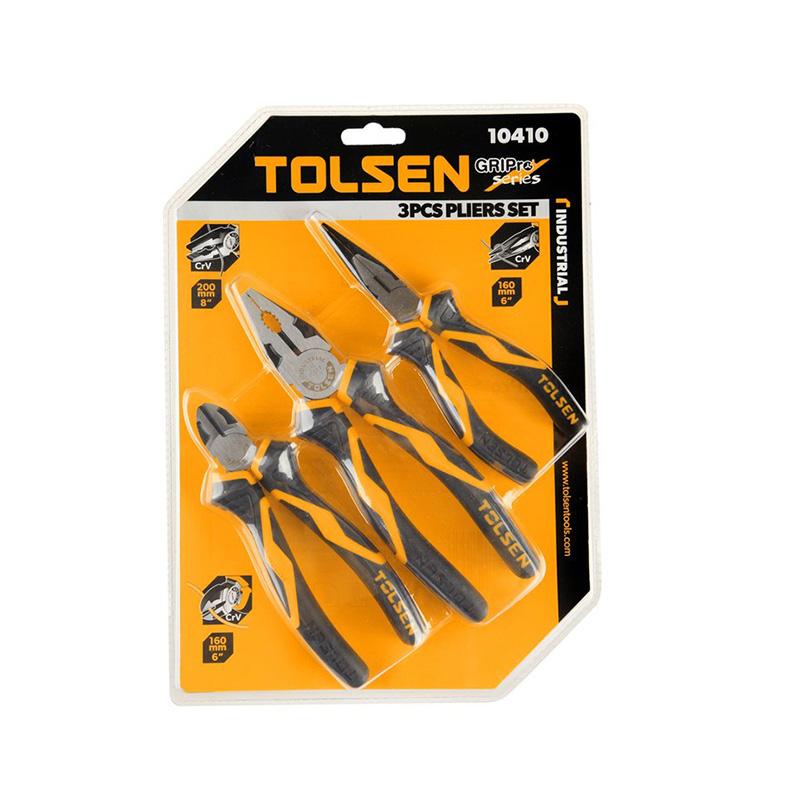 Bộ 3 kềm răng cắt nhọn công nghiệp 180/160/160mm thép CRV Tolsen 10410