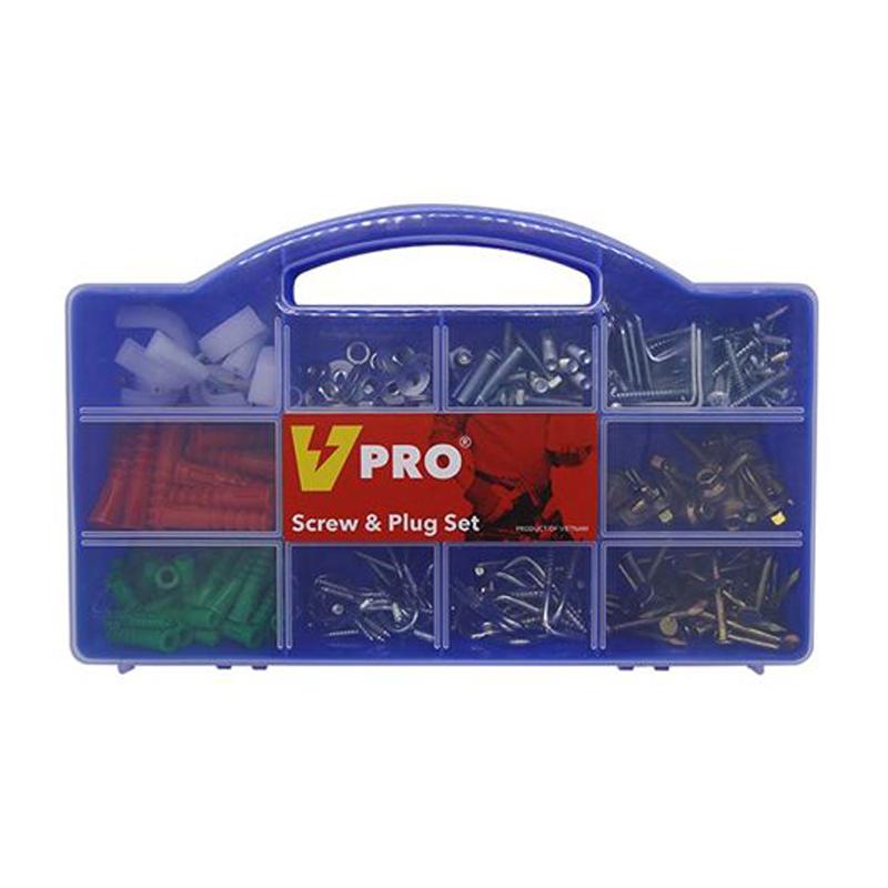 Hộp phụ tùng tiện dụng Vpro HW-001 323 chi tiết (màu xanh)