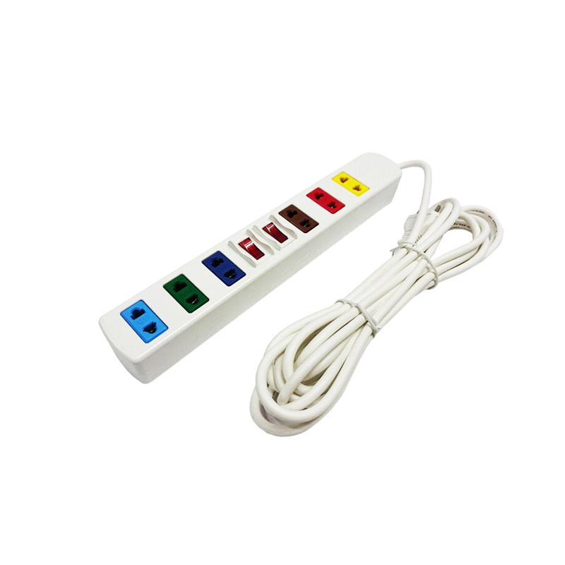 Ổ cắm điện 6 ổ cắm 2 công tắc dây 3m trắng 2200W - 3300W LiOA 6S3W