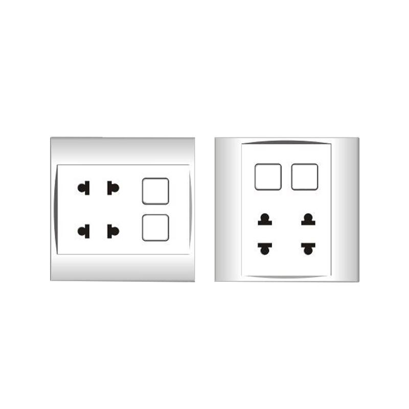 Ổ cắm đôi 2 chấu 16A với 2 lỗ và viền đơn trắng LiOA V20SM2U2X
