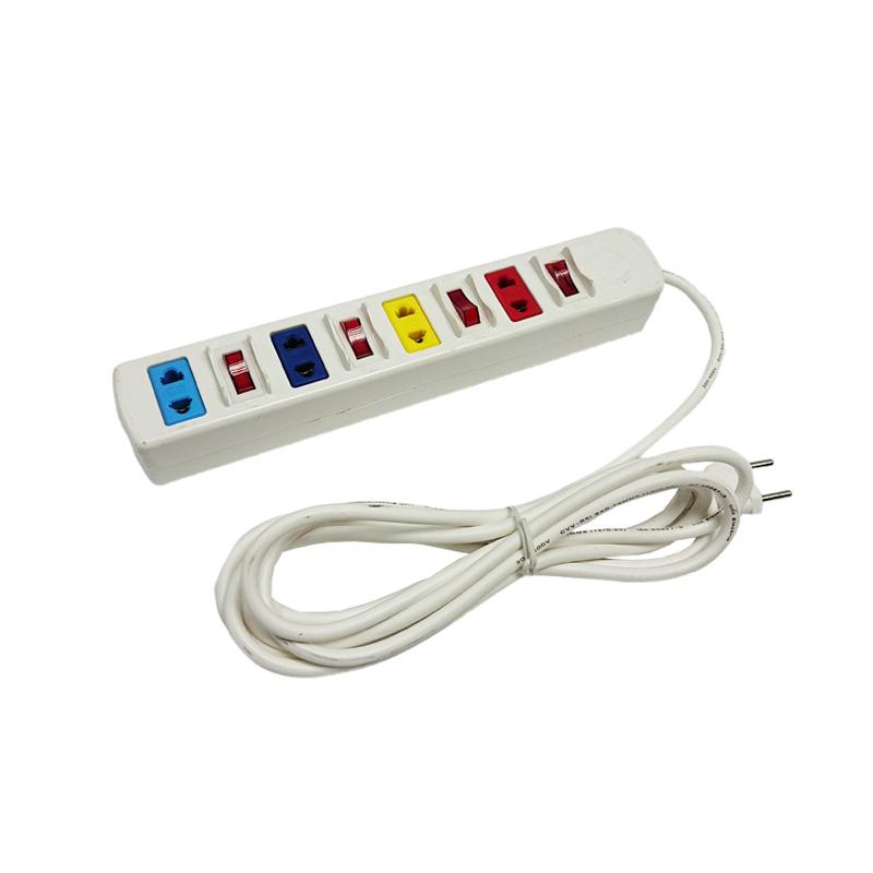 Ổ cắm điện 4 ổ cắm 4 công tắc dây 5m trắng 2200w/250v LiOA 4SOF5W