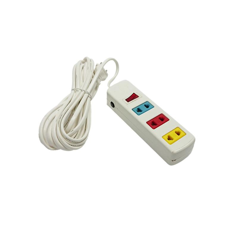 Ổ cắm điện 3 ổ cắm 1 công tắc dây 5m trắng 1000w/250v LiOA 3S5W
