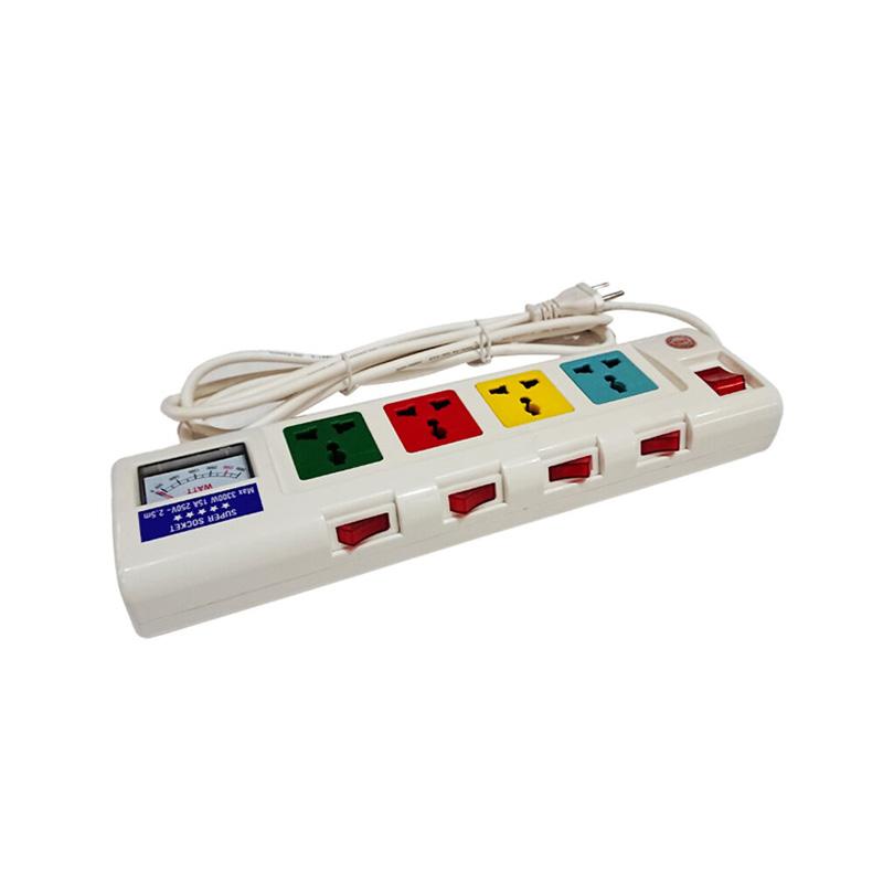 Ổ cắm điện 4 ổ cắm dây 2.5m có đồng hồ báo điện áp 3300w LiOA 4OFSSA2.5-2