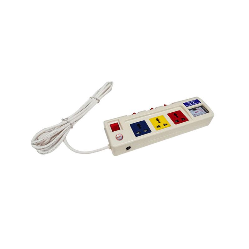 Ổ cắm điện 3 ổ cắm dây 2.5m 3 lõi có đồng hồ báo điện áp 3300w LiOA 3OFSSV2.5-3