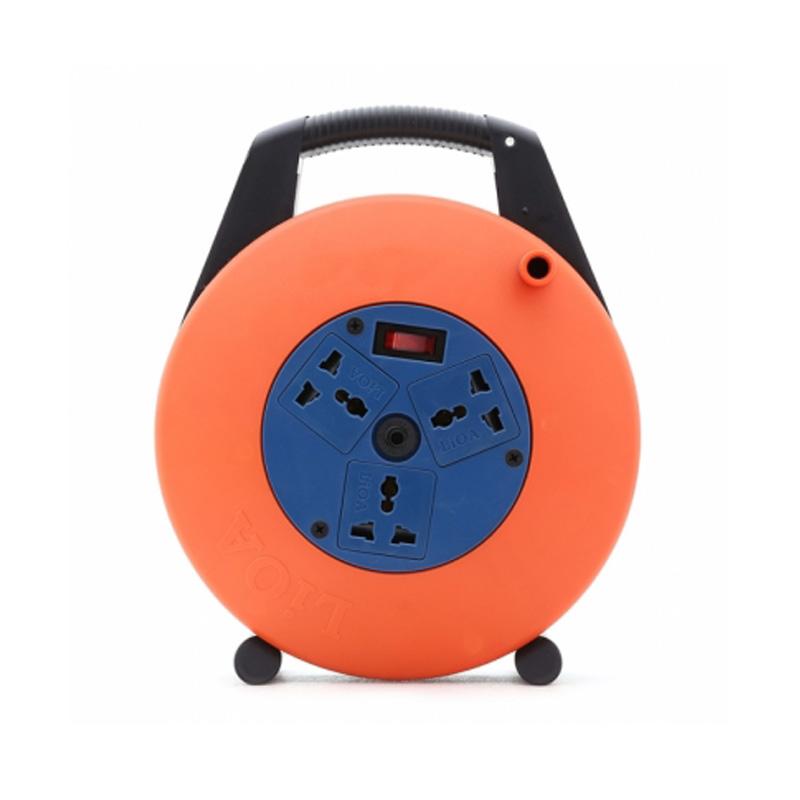 Ổ cắm điện quay tay- cuộn dây kín kiểu xách tay loại 10m 3 lõi dây 10A LiOA XTD10-3-10A
