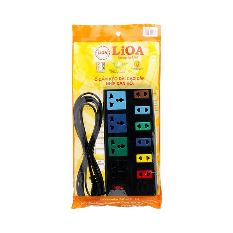 Ổ cắm điện kéo dài đa năng kết hợp 10 ổ cắm dây 3m 2200W - 3300W LiOA 4D6S32