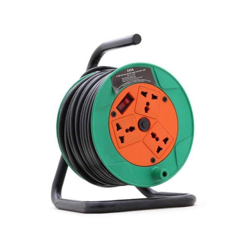 Ổ cắm điện kéo dài quay tay kiểu RULO loại 20m 3 lõi dây 10A LiOA QN20-3-10A
