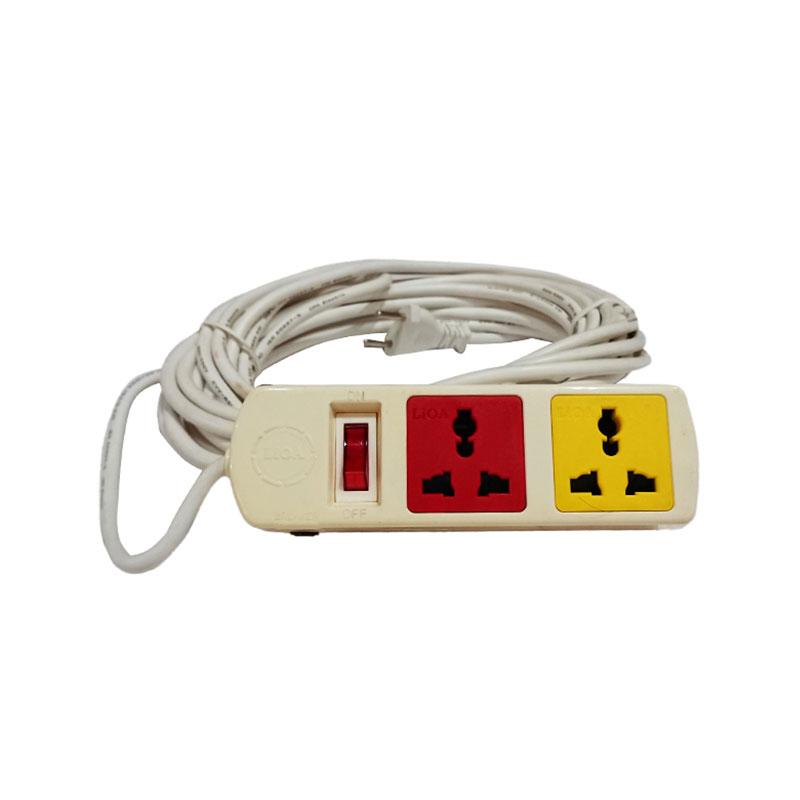 Ổ cắm điện kéo dài đa năng 2 ổ cắm 1 công tắc dây 5m 2200W - 3300W LiOA 2TH52W-10A