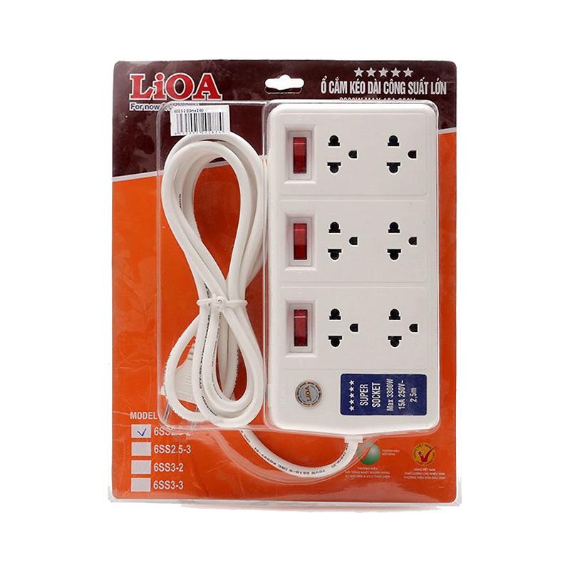 Ổ cắm điện 6 ổ cắm dây 2.5m có nắp che an toàn 3300w LiOA 6SS2.5-2