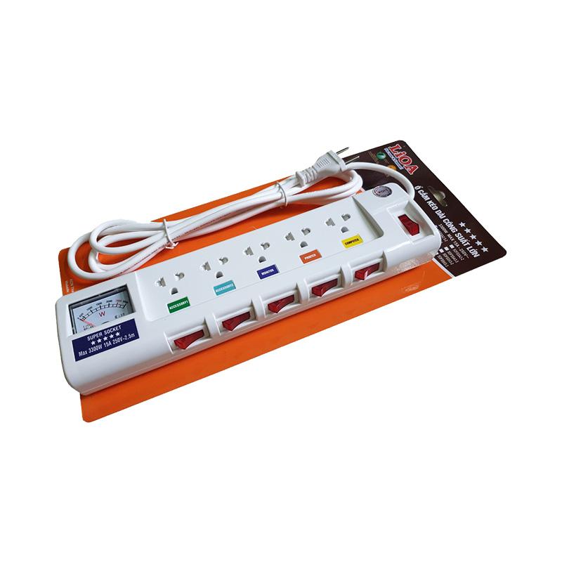 Ổ cắm điện 5 ổ cắm dây 2.5m có đồng hồ báo điện áp 3300w LiOA 5OFSSV2.5-2