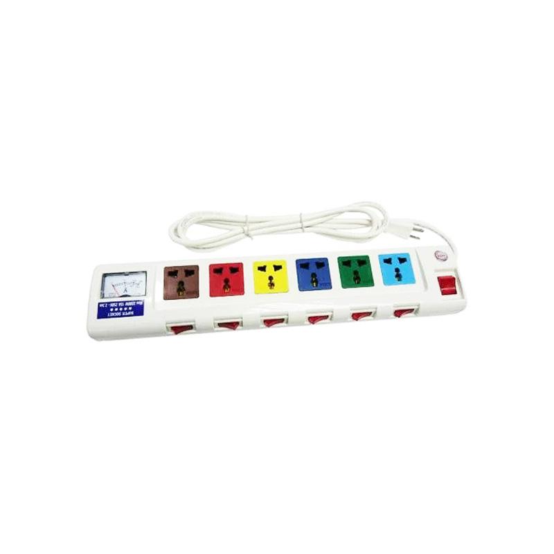 Ổ cắm điện 6 ổ cắm dây 2.5m có đồng hồ báo điện áp 3300w LiOA 6OFSSA2.5-2