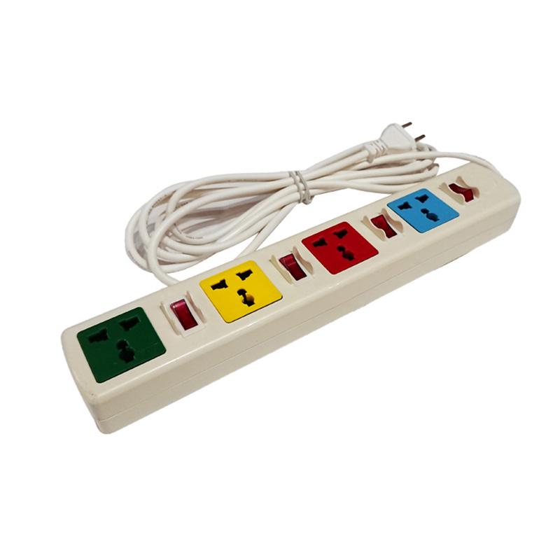 Ổ cắm điện đa năng 4 ổ cắm 4 công tắc dây 3m trắng 2200W - 3300W LiOA 4DOF33WN