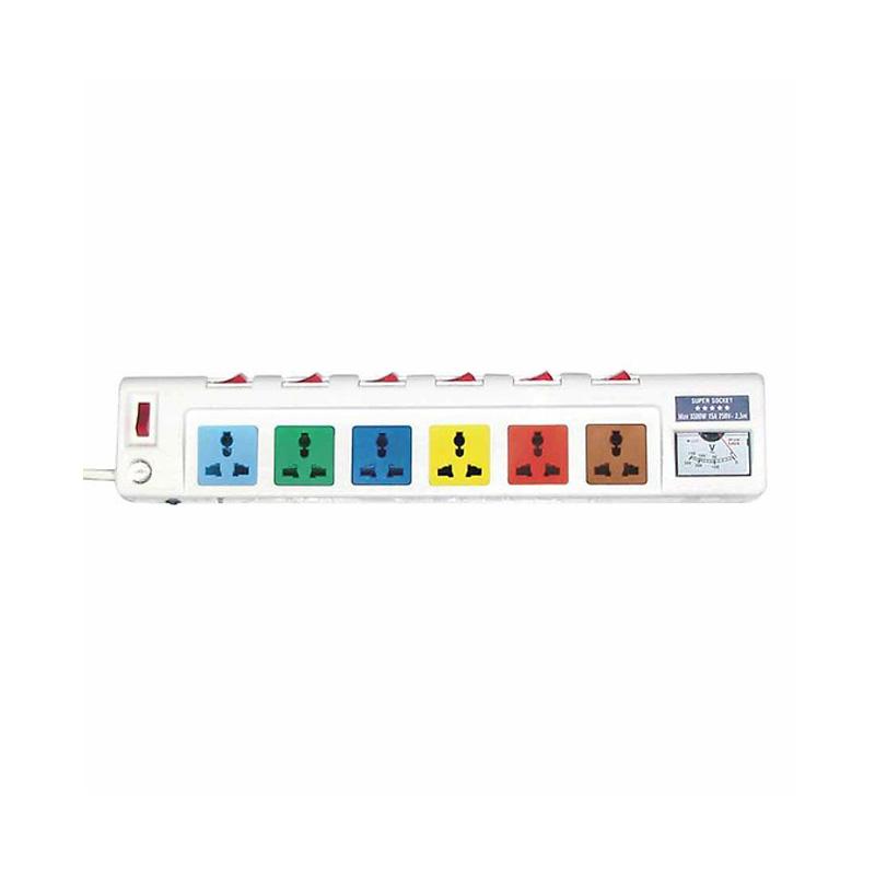Ổ cắm điện 6 ổ cắm dây 2.5m có đồng hồ báo điện áp 3300w LiOA 6OFSSV2.5-2