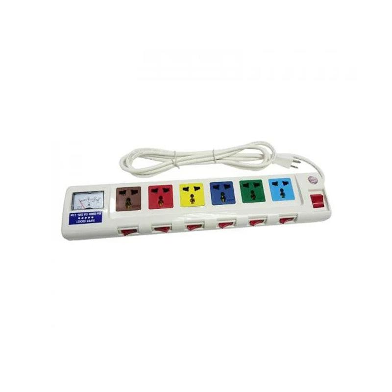 Ổ cắm điện 6 ổ cắm dây 2.5m 3 lõi có đồng hồ báo điện áp 3300w LiOA 6OFSSA2.5-3