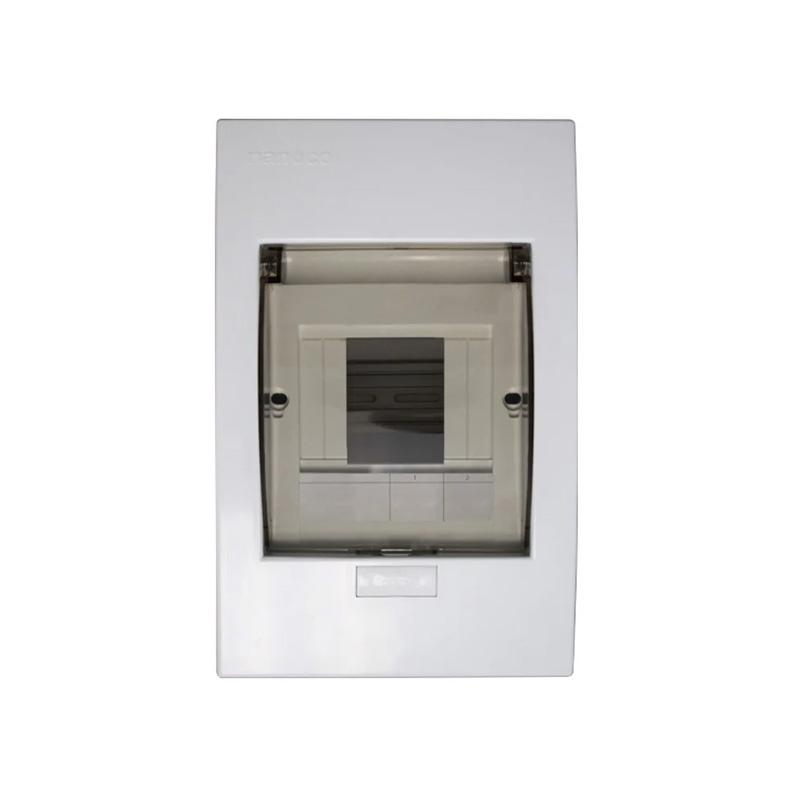 Tủ điện mặt nhựa đế kim loại 2-4 đường NANOCO NDP104P