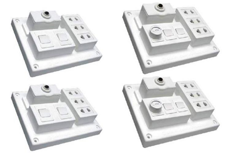 Bảng điện nổi CB 15A có 3 ổ cắm đôi 2 chấu và 2 công tắc 1 chiều+ điều tốc độ quạt 400VA LiOA B-CB15A2CQ