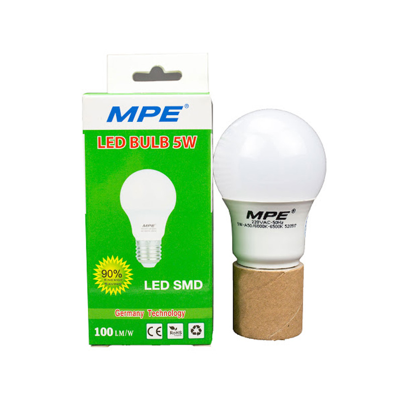 Đèn Led Bulb 5W góc chiếu 230° MPE LBL-5V ánh sáng vàng