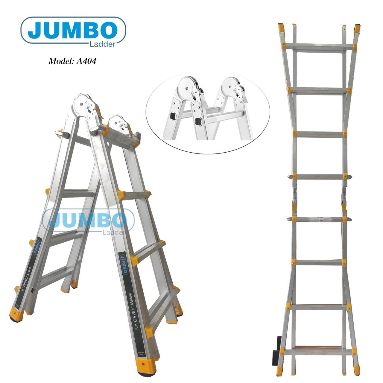 Thang nhôm gấp chữ A mở rộng Jumbo A404