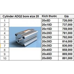 Xy lanh TPC dòng ADQ2 bore size 20