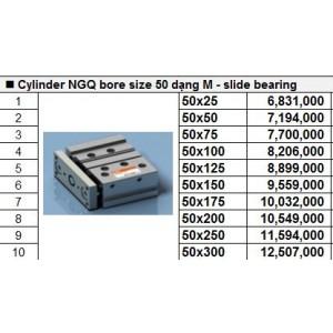 Xy lanh TPC NGQ bore size 50 dạng M - slide bearing