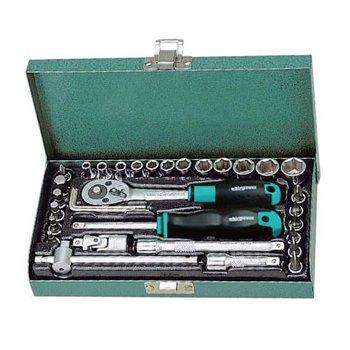 Bộ khẩu 1/4''-33 chi tiết ( từ 4-13mm- hộp sắt) - 1612-0633S