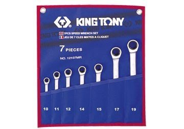 10-19mm bộ cờ lê vòng miệng 7 cái hệ mét Kingtony 12107MR