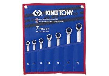 10-19mm bộ cờ lê vòng miệng 7 cái hệ mét Kingtony 12207MR