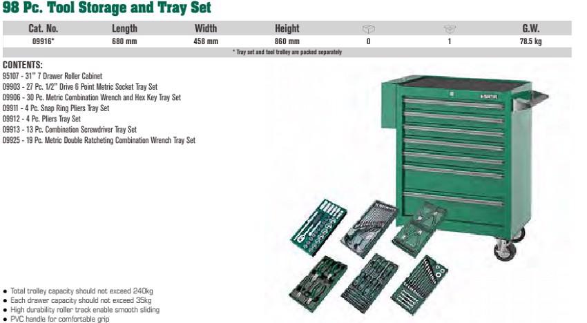 Tủ dụng cụ và khay 98 chi tiết Sata 09-916 (09916)