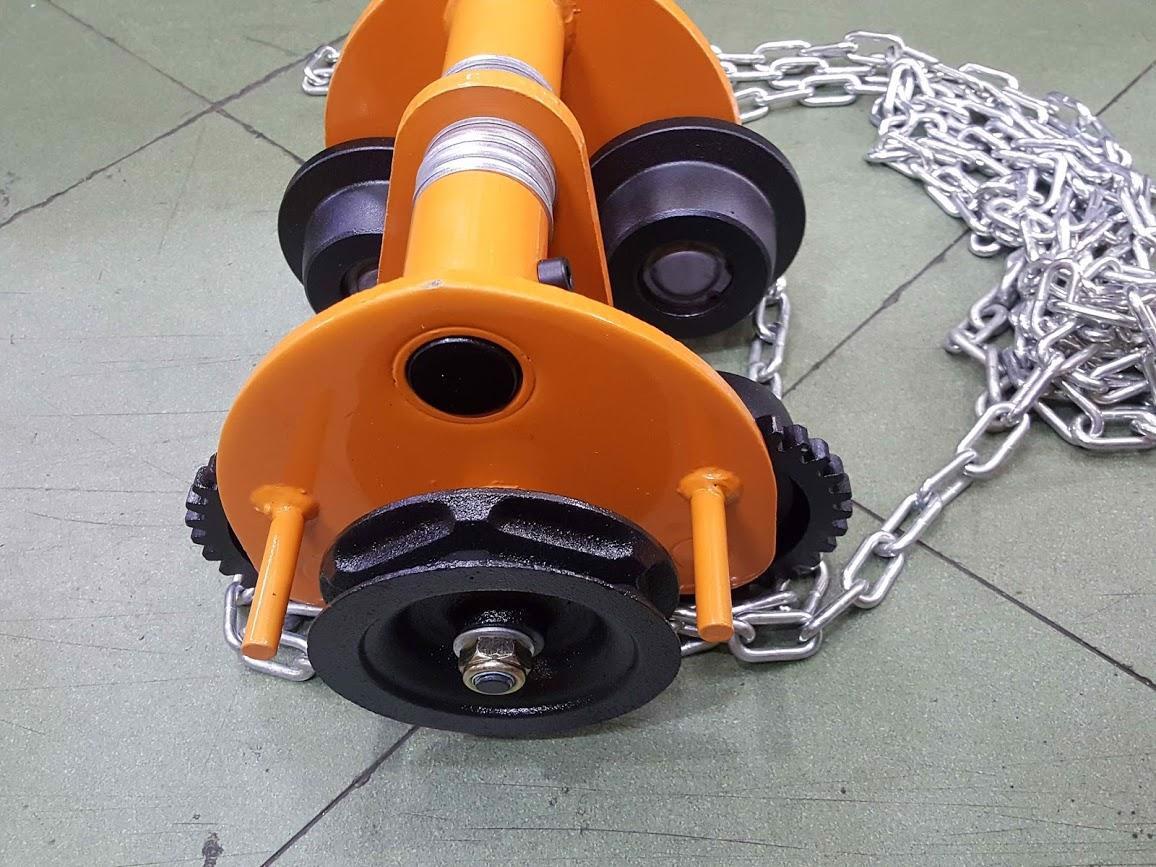 Rùa kéo pa lăng 1 tấn xích dài 3 mét sử dụng dầm y 68mm-100mm