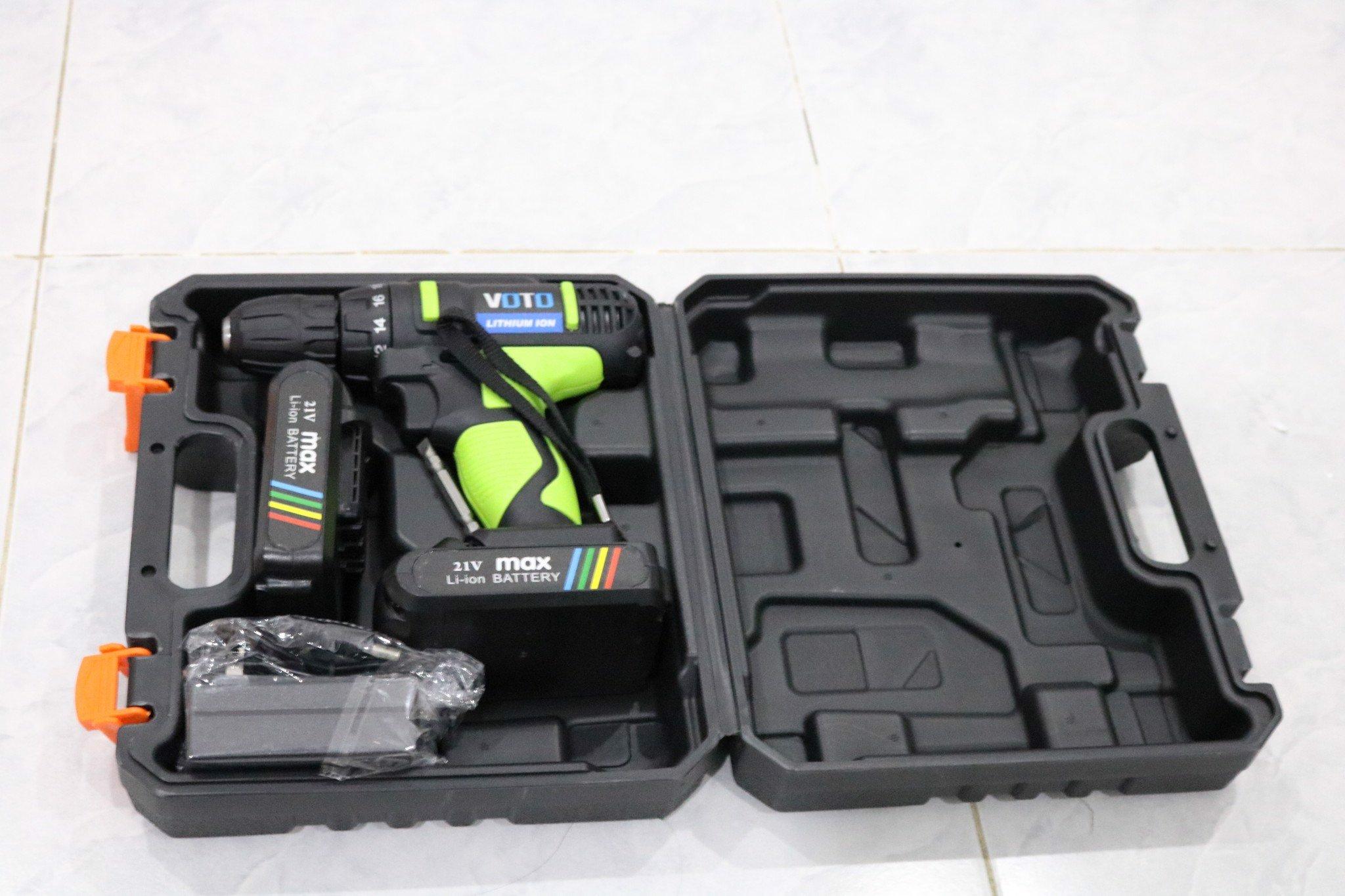 Máy Khoan Pin Vặn Vít VOTO 21V - 2Pin - Hộp Nhựa